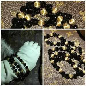 Jewelry - 14KT Gold Bracelet With Genuine Black Onyx Beads
